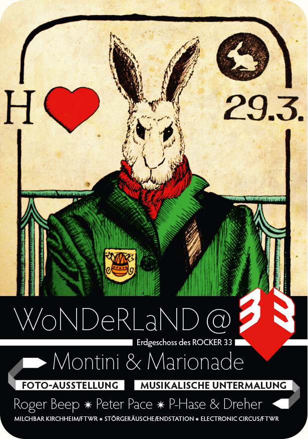 Spielkarte-Osterflyer Follow the White Rabbit e.V.